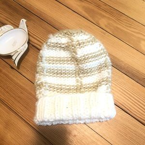 Free people | knit winter hat cream and tan nwot